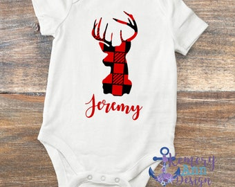 Buffalo Plaid Deer Bodysuit, Personalized Deer Infant Bodysuit, Plaid Deer Shirt, Deer Baby Shower Gift, Buffalo Plaid Baby Shower