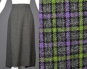 Large 1940s Skirt Plaid Skirt Purple Green Check Wool Midi Knee Length Pleated Conservative 1940s Vintage Autumn Outfit Pencil Skirt