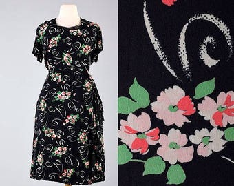SALE 40s Dress Black 1940s Rayon Dress Floral Dress Short Sleeve Summer Dress Vintage 40s Dress Rockabilly Pinup Rayon Dress Plus Size XXL 2
