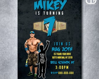 John Cena, Custom Invitation With Photo, Boy, Girl, Wrestling, Birthday Party