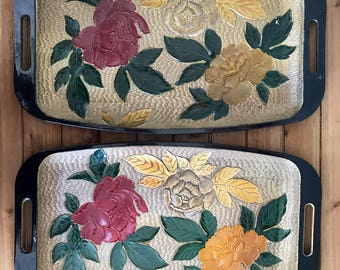 Bohemian Mid Century Vintage Black and Gold Flower Serving Tray | Textured | Decorative Tray | Set of 2