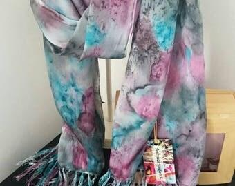 Silk Scarf, Fringe Scarf, Long Scarf, Handmade Silk Scarf,  Handmade scarves, Hand Painted scarves