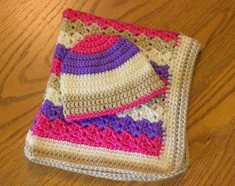 Crochet Baby Blanket and Hat Set, Pink Purple Tan and Beige Blanket, Baby Girl Blanket Gift Set