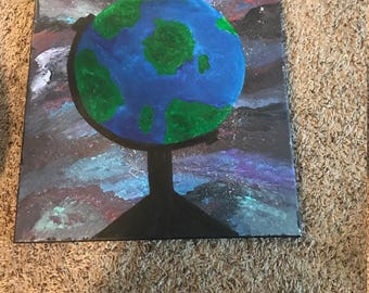 Globe painting on canvas with acrylic and oil paints