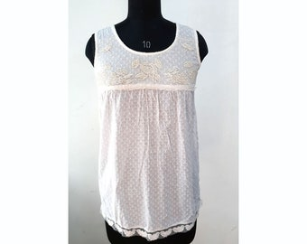 Cotton slub lace top