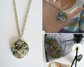Glass Jewel-Glass pendant-unique necklace of glass-recycled jewel-recycled glass necklace
