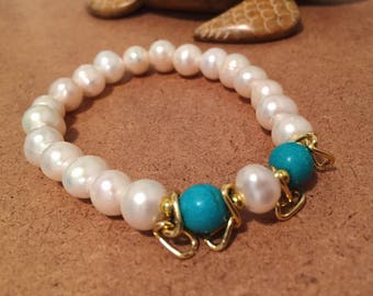 Turquoise & Fresh water pearl Bracelet