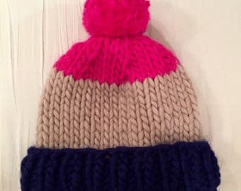 Chunky Knitted Beanie Hat + Pom Pom (100% Wool) - Royal Blue/Sand/Hot Pink Triptic