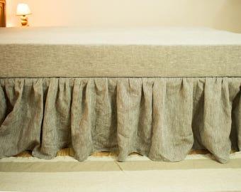 Linen Bed skirt Queen King Bed Skirt  Ruffle Bed Skirts Dust Ruffle Linen Bedding Linen Ruffle Bedskirt