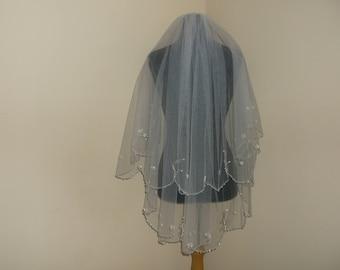 Ivory 2 Tier Silver/Pearl Beaded Wedding Veil