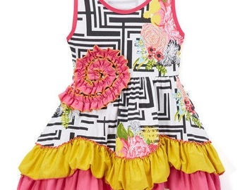NWT Tutu & Lulu Flower Ruffle Dress 3-4T
