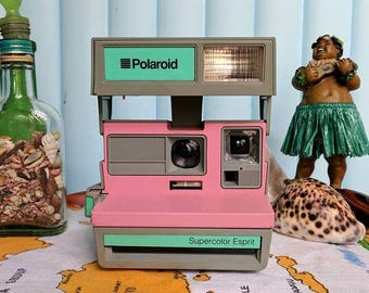 Polaroid Supercolor Esprit -Pink/Grey/Mint - Vintage camera- Rare - Highly collectable