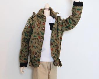 Taeyang Doll 1/6, Pullip clothing vintage camouflage jacket