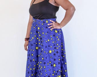 DeBokis Collection, Ankara African Print, Maxi Flare Skirt with Headgear.