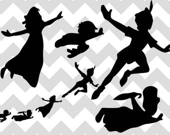 peter pan svg peter pan flying peter pan characters bundle neverland