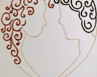 Handsewn wedding card, bride and groom. Customisable and personalised