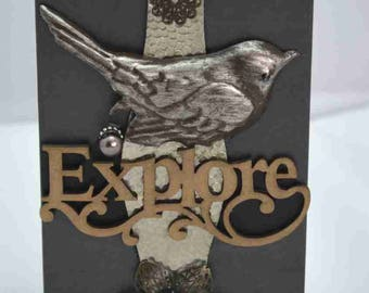 "Mixed media assemblage collage box - ""Explore"""