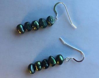 Green Fresh Water Pearl Earings