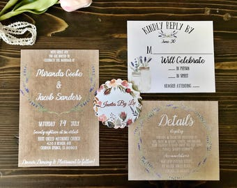 Rustic Lavender Wedding Invitation Set Printable Template