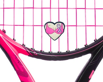 Ladies Tennis Breast Cancer Support Pink Heart Tennis Racket Vibration Dampener 2-Pack of Shock Absorbers. Great tennis gifts for women!