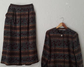 1980s Patterned Matching Skirt and Top Set