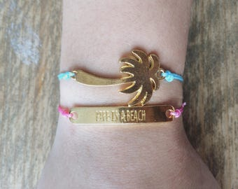 Palmtree or quote bracelet - pink or blue