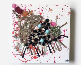"Original Artwork 8x8 Jewelry on gallery canvas ""Dublin Showers"""