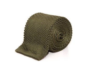 de MORÉ - olive green knitted tie