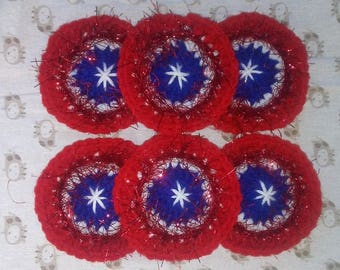 Hand Crocheted Red, White and Blue Coasters
