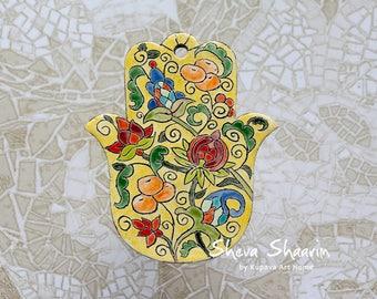 Yellow Hamsa. Ceramic Hamsa. Wall hanging Hamsa. Jewish gifts. Judaica. Home Decor. Hamsa Hand. Housewarming Gift.