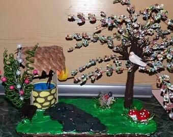 Handmade beaded scluptures. Tree sclupture, ideal gift, present