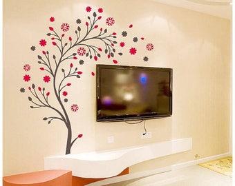 Wall Decals 'Magic Tree With Flowers' Wall Sticker Wall Decor PVC Vinyl 50cm x 70cm Decals Decor