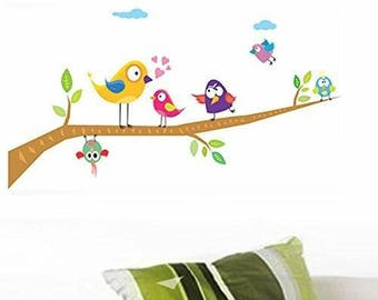 Wall Decals Singing Birds on Branch Decal Wall Sticker Vinyl Decal 25x70 cm Baby Wall Decals Nurser Decal Kids Wall Decal Nursery Wall Decal