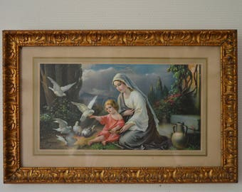 Religious carved wood frame