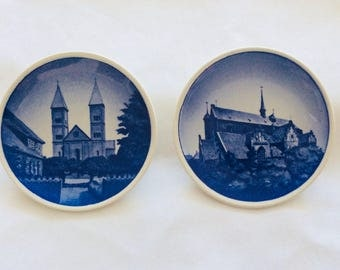 "ROYAL COPENHAGEN Blue Mini Plates Trinket Dishes  Denmark 2010 Domkirke ""Lot of two"""