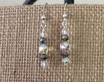 Clear AB and gray faceted glass bead earrings