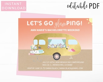 Glamping Bachelorette Party Invitation, Bachelorette Party Invitation, Bachelorette Party Invite, Bachelorette Bash, Invitation Template