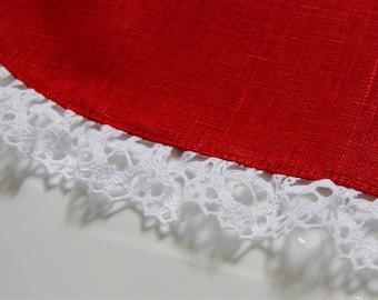 Linen Half Apron -  Cafe Apron - Linen Apron - Red Apron with lace