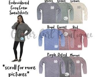 Embroidered Cozy Crew Sweatshirt   Poodle Fleece Sweatshirt   Monogram Sweatshirt   Womens Sweatshirt   Personalized Cozy Sweatshirt