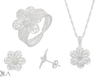 925 sterling silver jewelry set flower 3-piece filigree S01
