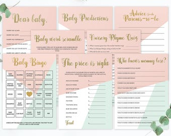 Pastel Baby Shower Games Set, Mint and Pink Baby Shower Decorations, Pink Mint Baby Shower, Baby Shower Keepsake Games, Baby Bingo Cards GP1