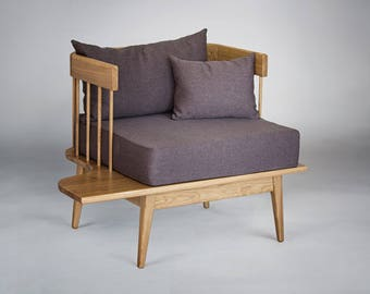 Solid oak armchair