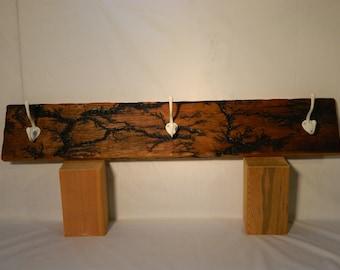 Lichtenberg Figures Electrocuted Reclaimed Barn Wood Pine Coat Key Hook Rack
