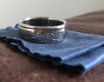 One Shilling coin ring made from a circulated coin