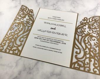 Laser Cut Wedding Invitation, Gold Wedding Invitation Laser Cut, Shimmery Laser  Cut Invites,