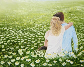 original romantic oil painting, lovers, love, camomile, sun, field, man and woman, gift, home decor