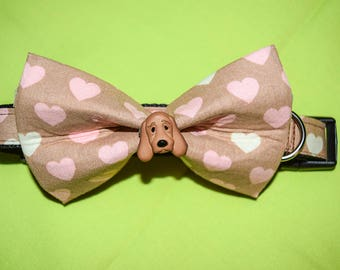 Dog Collar with Matching Hearts Bow - Brown