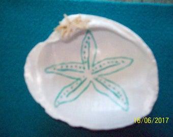 Shell Trinket Holder Aqua Starfish
