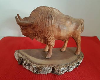 Buffalo figurine, hand made wooden  figure, wooden animal figure, zoo animals, farm animals figure, carved wooden figurine, vintage figurine