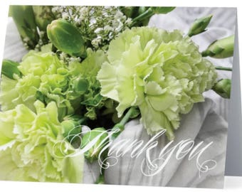 Floral greeting card, green carnations